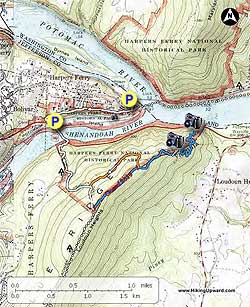 Harpers Ferry Virginia Map.Harpers Ferry Loudoun Heights Hike